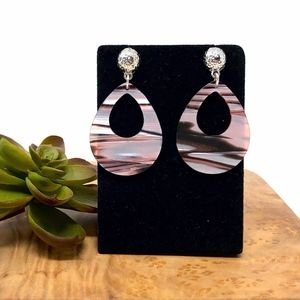 Pink Striped Acrylic Earrings w Silver Button Post